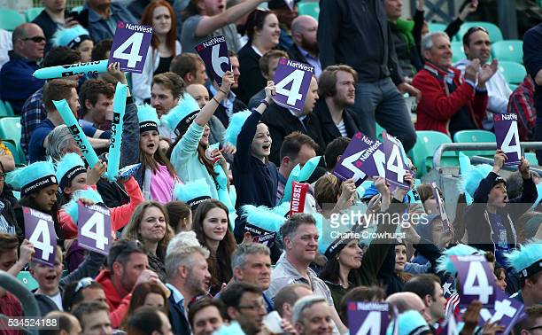 Young fans celebrate a boundary during the Natwest T20 Blast match between Surrey and Glamorgan at The Kia Oval on May 26 2016 in London England