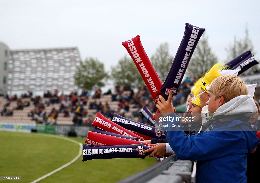 Young fans create an atmosphere during the Natwest T20 Blast match between Hampshire and Essex at The Rose Bowl on May 15 2014 in Southampton England