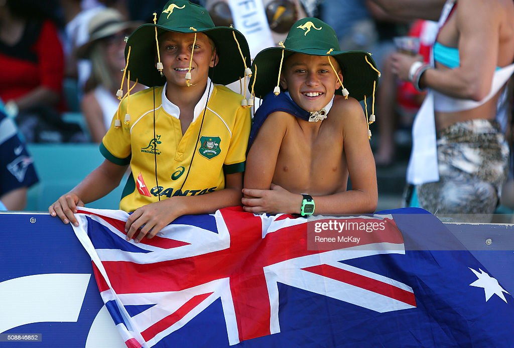 Young fans during the 2016 Sydney Sevens match between Fiji and New Zealand at Allianz Stadium on February 7, 2016 in Sydney, Australia.