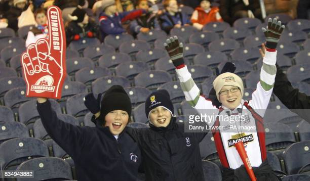 Young fans in the stands prior to kick off