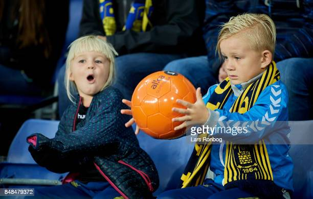 Young fans of Brondby IF play during the Danish Alka Superliga match between Brondby IF and AaB Aalborg at Brondby Stadion on September 17 2017 in...