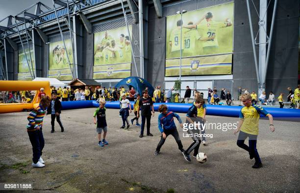Young fans of Brondby IF playing football in the fanzone prior to the Danish Alka Superliga match between Brondby IF and AC Horsens at Brondby...