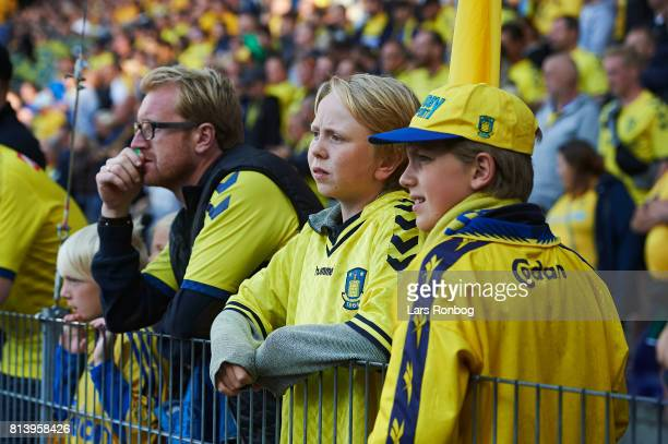 Young fans of Brondby IF watching the game during the UEFA Europa League Qualification match between Brondby IF and VPS Vaasa at Brondby Stadion on...