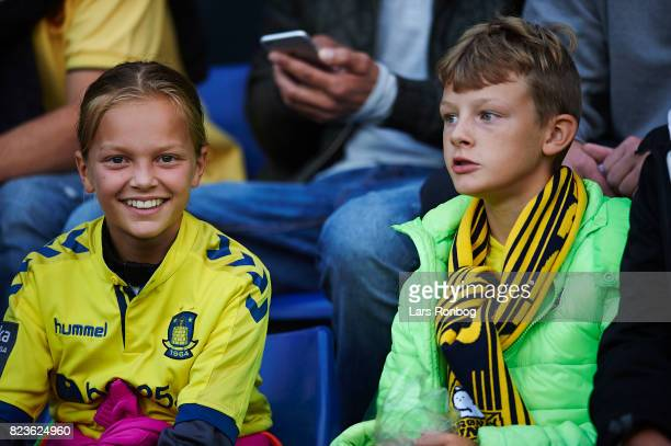 Young fans of Brondby smiling prior to the UEFA Europa League Qual match between Brondby IF and Hajduk Split at Brondby Stadion on July 27 2017 in...