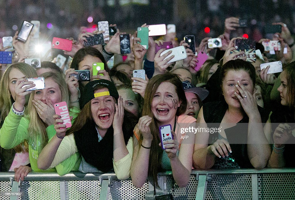Young fans of Canadian singer Justin Bieber attend his concert as part of the 'Believe Tour' at Telenor Arena in Fornebu, Norway on April 16, 2013.