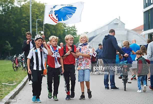 Young fans of FC Copenhagen arrive to the stadium prior to the Danish Alka Superliga match between FC Copenhagen and AaB Aalborg at Telia Parken...