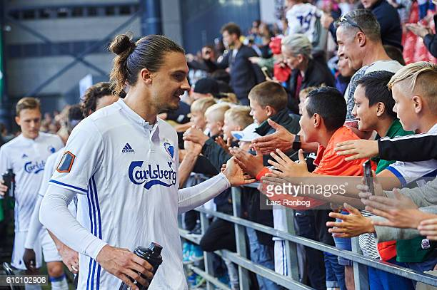 Young fans of FC Copenhagen celebrate with Erik Johansson of FC Copenhagen after the Danish Alka Superliga match between FC Copenhagen and AGF Aarhus...