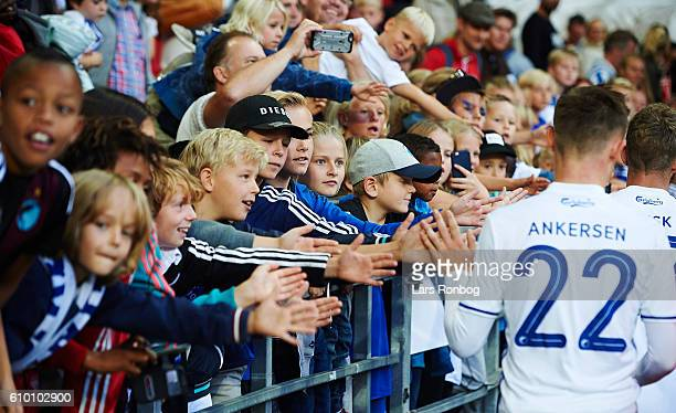 Young fans of FC Copenhagen celebrate with Peter Ankersen of FC Copenhagen after the Danish Alka Superliga match between FC Copenhagen and AGF Aarhus...