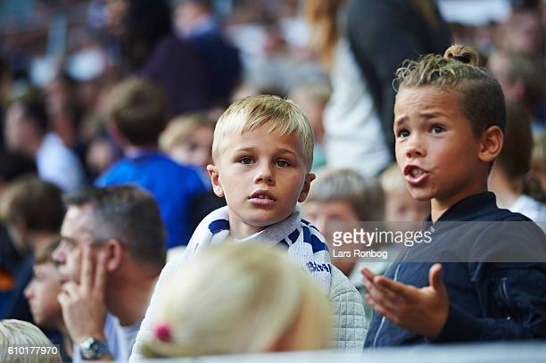 Young fans of FC Copenhagen looks on during the Danish Alka Superliga match between FC Copenhagen and AGF Aarhus at Telia Parken Stadium on September...