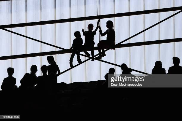Young fans of FC Utrecht watch the action during the Dutch Eredivisie match between FC Utrecht and FC Twente at Stadion Galgenwaard on April 9 2017...