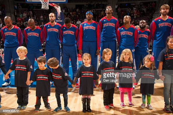 Young fans of the Detroit Pistons line up for the national anthem before the game against the Chicago Bulls on October 7 2014 at The Palace of Auburn...