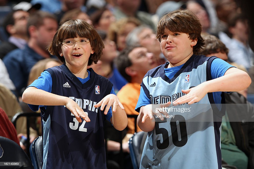Young fans of the Memphis Grizzlies during the game against the Brooklyn Nets on January 25, 2013 at FedExForum in Memphis, Tennessee.