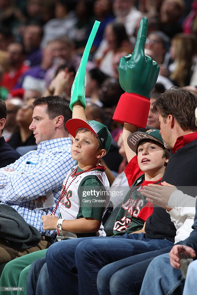 Young fans of the Milwaukee Bucks during the game against the Philadelphia 76ers on February 13, 2013 at the BMO Harris Bradley Center in Milwaukee, Wisconsin.