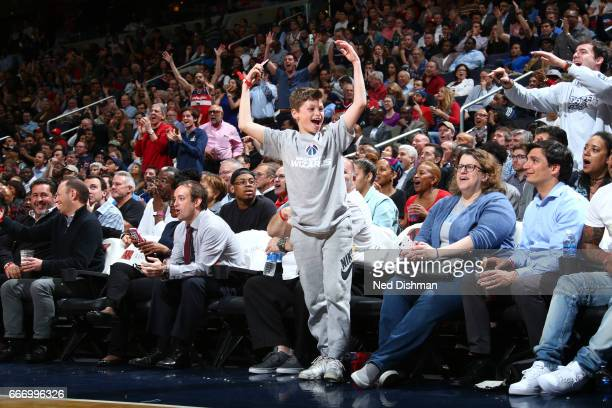 Young fans of the Washington Wizards cheer during the game against the Charlotte Hornets on April 4 2017 at Verizon Center in Washington DC NOTE TO...
