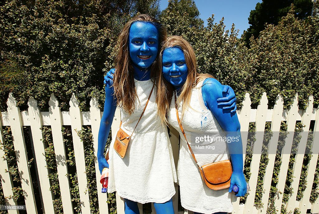 Young fans pose in fancy dress during game five of the Commonwealth Bank One Day International series between Australia and Sri Lanka at Blundstone Arena on January 23, 2013 in Hobart, Australia.