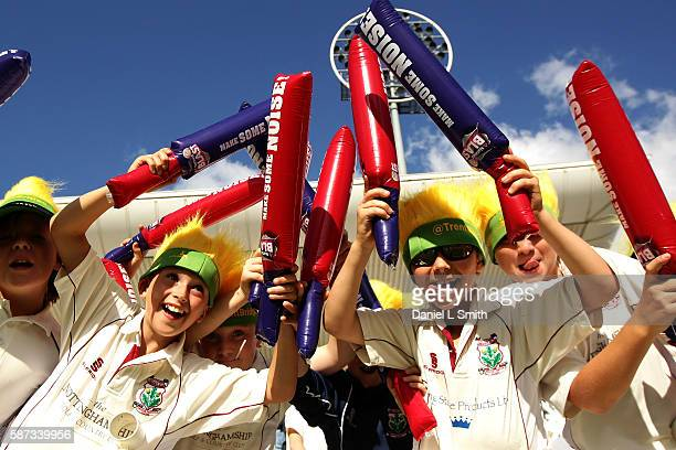Young fans show their excitement prior to the NatWest T20 Blast match between Notts Outlaw and Essex Eagles at Trent Bridge on August 8 2016 in...