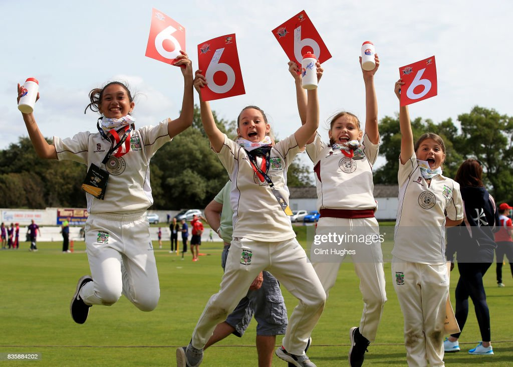 Young fans show their support during the Kia Super League match between Lancashire Thunder and Loughborough Lightning at Blackpool Cricket Club on August 20, 2017 in Blackpool, England.