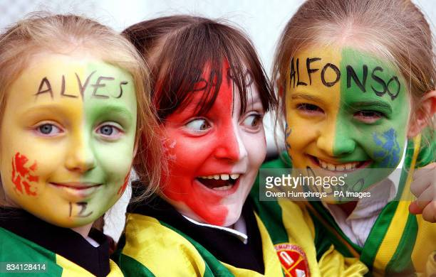Young fans show their support for Middlesbrough's new record signing Brazilian striker Afonso Alves during a press conference at the Riverside...
