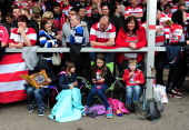 Young fans sit and wait for kick off before the Aviva Premiership match between Gloucester and Bath at Kingsholm Stadium on April 12 2014 in...