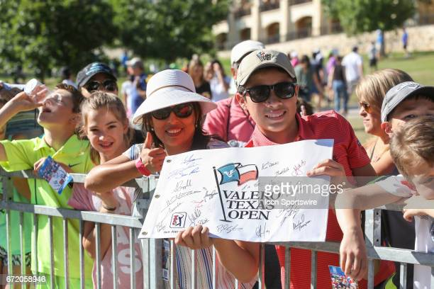 Young fans wait for an autograph during the 4th round of the Valero Texas Open at the TPC San Antonio Oaks Course in San Antonio TX on April 23 2017