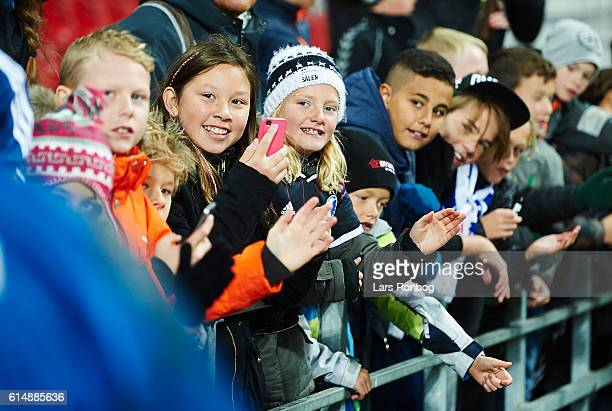 Young fans wait for the players of FC Copenhagen after the Danish Alka Superliga match between FC Copenhagen and Silkeborg IF at Telia Parken Stadium...