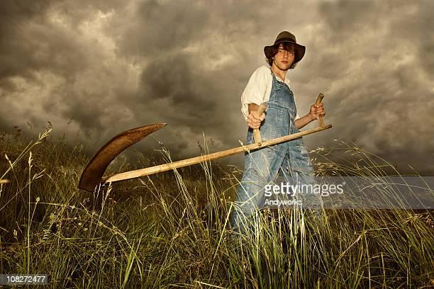Jeune agriculteur au travail
