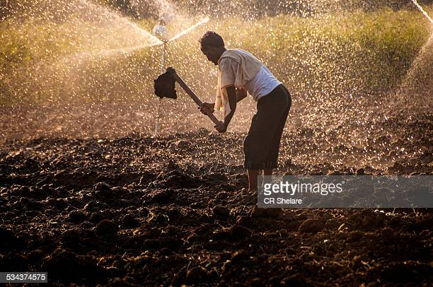 young farmer in front of  sprinklers