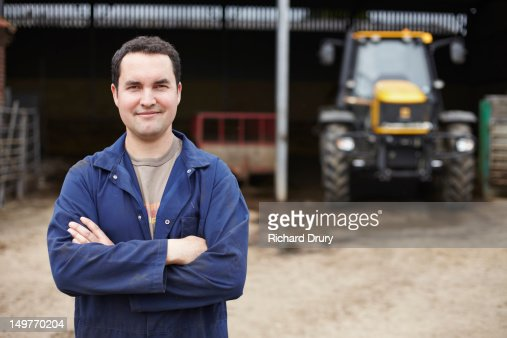 Young farmer on his farm : Foto de stock