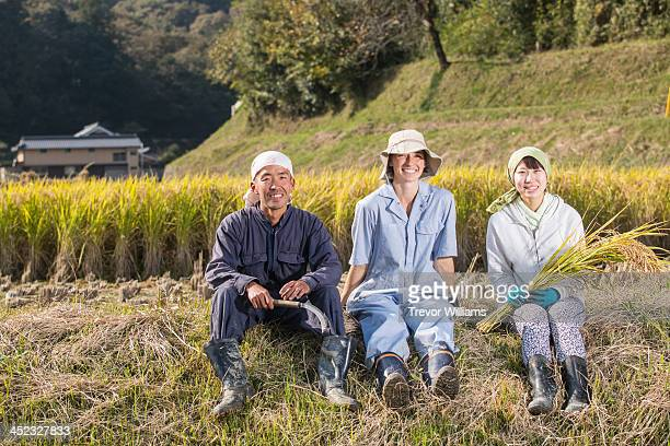 3 young farmers friends sitting in a rice field
