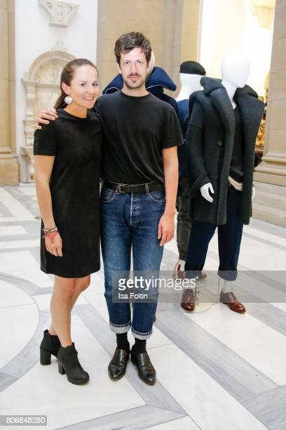 Young fashion designer and award winner Hannah Kliewer and fashion designer Michael Sontag during the European Fashion Award FASH at Bode Museum on...