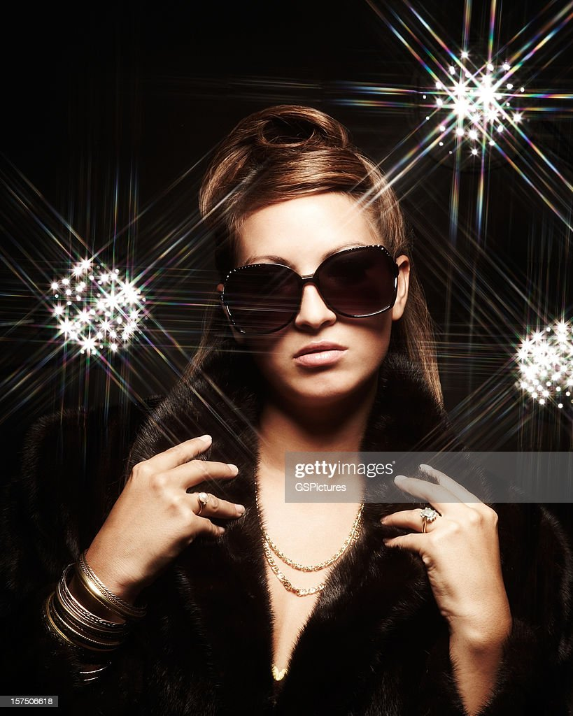 Young Fashion Model and Glittering Lights