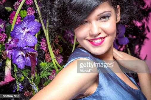 Young fashion model smiling : Stock Photo
