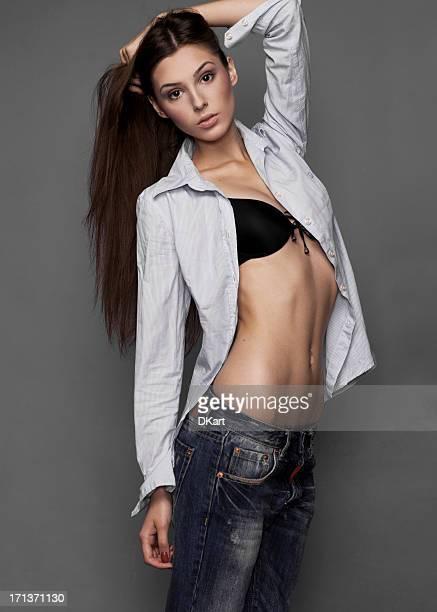 young fashionable brunet girl