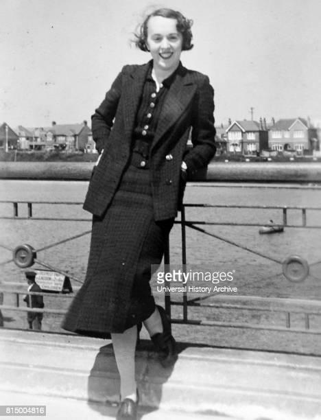 Young fashionable woman at a coastal resort in Southern England circa 1936