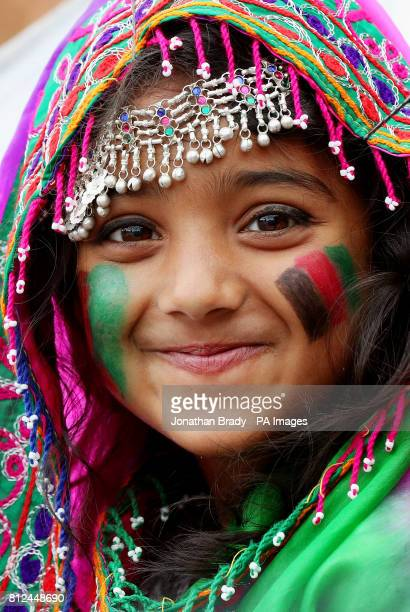 A young female Afghanistan cricket fan during the one day match at Lord's London
