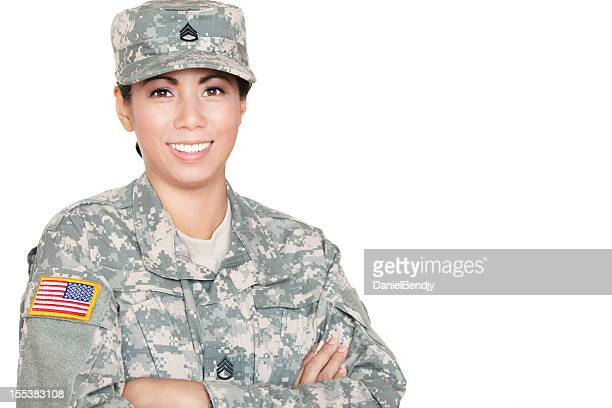 Young Female American Soldier in Army Camouflage Uniform