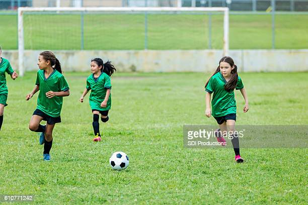 Young female athletes during soccer game
