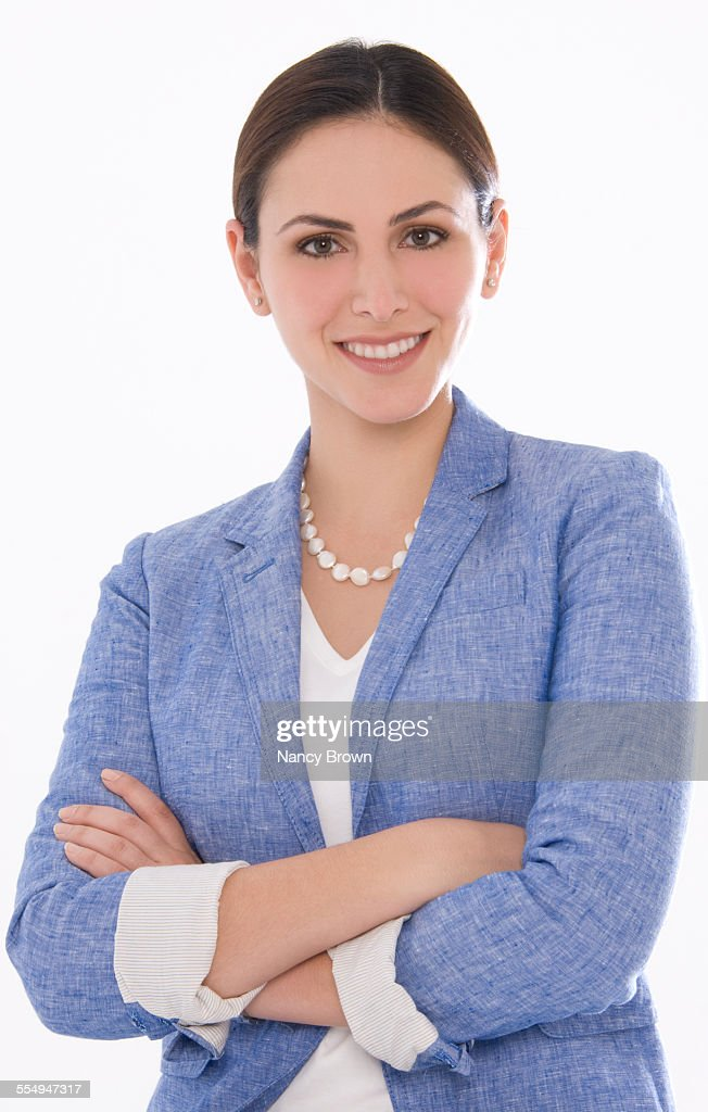 Young Female Business Woman at Camera on White.