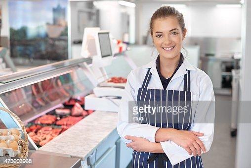 young female butcher portrait