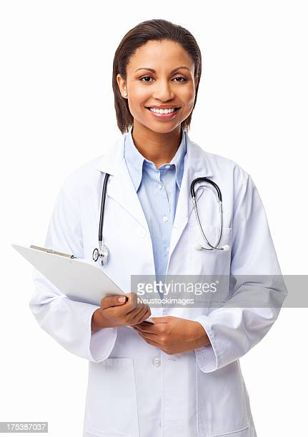 Young Female Doctor Holding Clipboard - Isolated