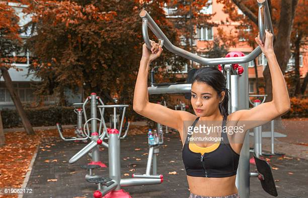Young  female doing physical fitness exercise in istanbul turkey