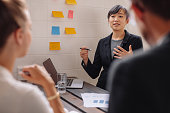 Asian businesswoman explaining her new business ideas to colleague. Young female executive giving presentation with stick notes on wall.