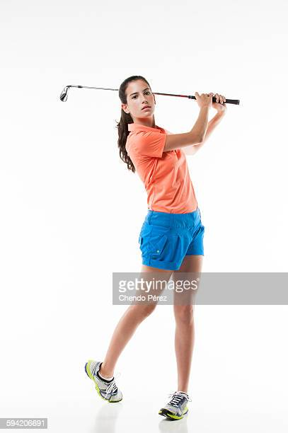 Young female golfer