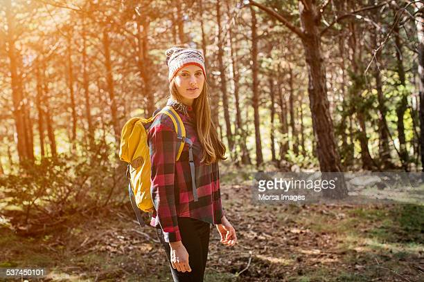 Young female hiker in forest