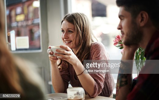 Young female in cafe