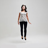 Young female jumping for joy