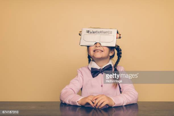 Young Female Nerd with Virtual Reality Headset
