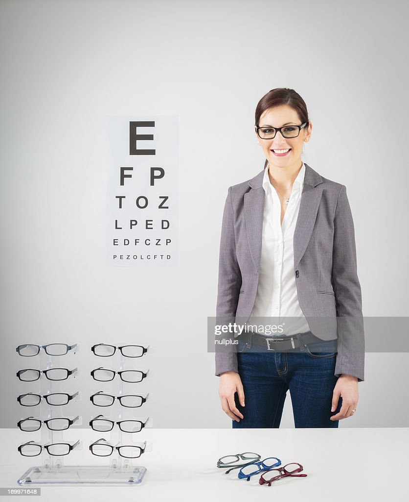 young female optician : Stock Photo