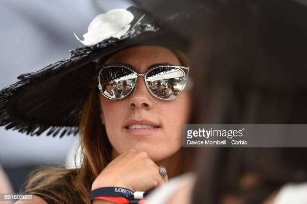 Young female spectator with hat during the Piazza di Siena Bank Intesa Sanpaolo in the Villa Borghese on May 27 2017 in Rome Italy