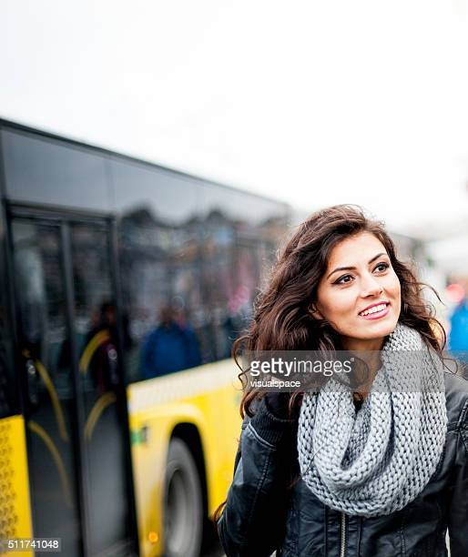 Young Female Student and Public Transportation